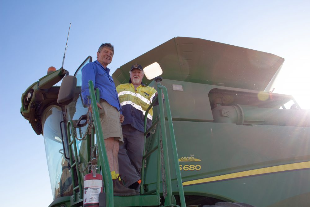 Pacific Seeds' Steve Lamb with grower Allan Griffith.