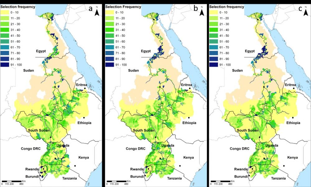 Priority conservation areas in the river Nile under different collaboration scenarios: no collaboration (left), partial collaboration (centre) and full collaboration (right).