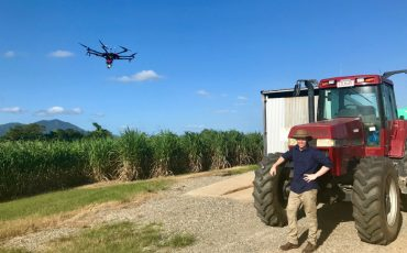 On a cane farm with drone Credit CSIRO