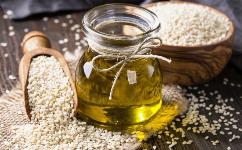 sesame oil and seed stock image